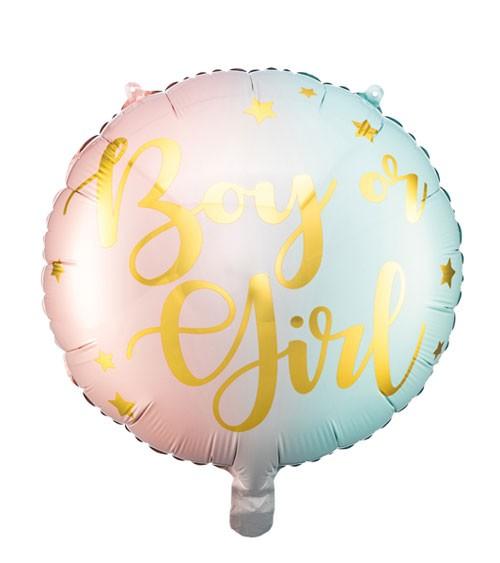 "Runder Folienballon ""Boy or Girl"" - Ombre rosa & hellblau - 35 cm"