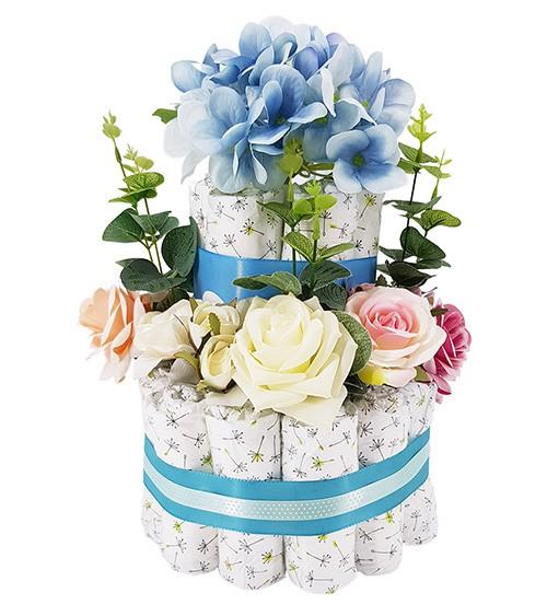 "Windeltorte ""Blütenzauber"" - blau"