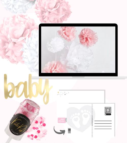 Virtuelle Babyparty Set mit Pom Poms - rosa - 8-teilig