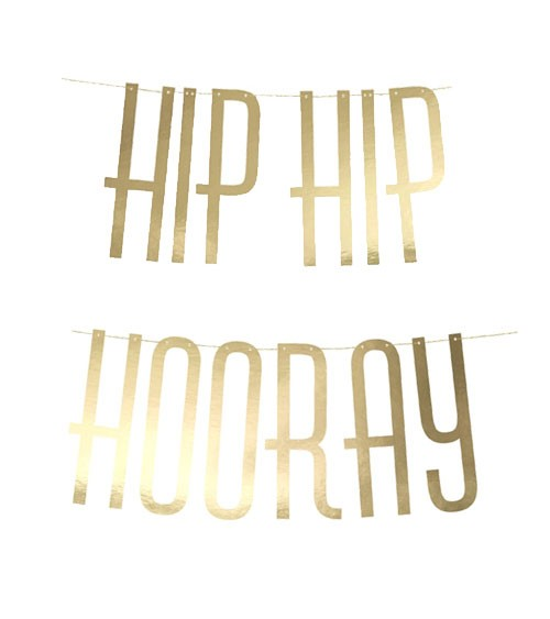 "DIY-Schriftzuggirlande ""Hip Hip Hooray"" - gold metallic - 1,2 m"