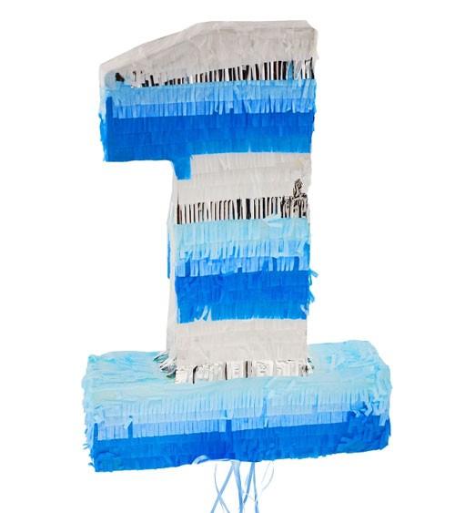 Pinata Zahl 1 - blau & silber - 35 x 50 cm