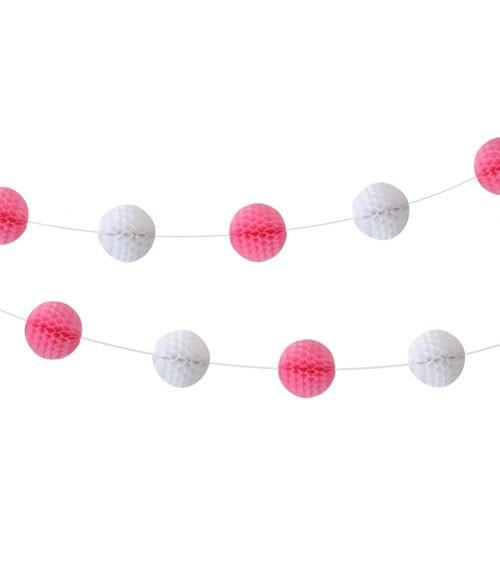 Mini-Wabenballgirlande - rosa & weiß - 2,5 m