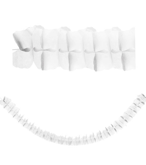 Seidenpapiergirlande - weiß - 3 m