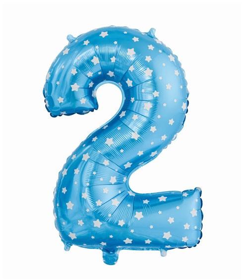 "Folienballon Zahl ""2"" - blau mit Sternen - 61 cm"
