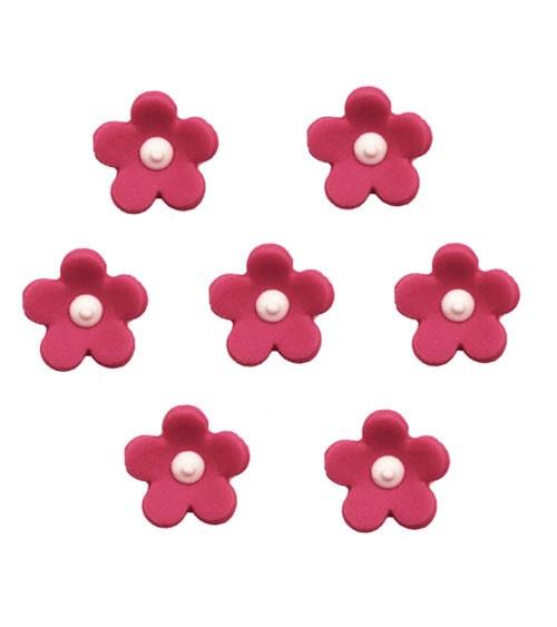 "Zuckerdekor ""Blüten"" - fuchsia - 7 Stück"