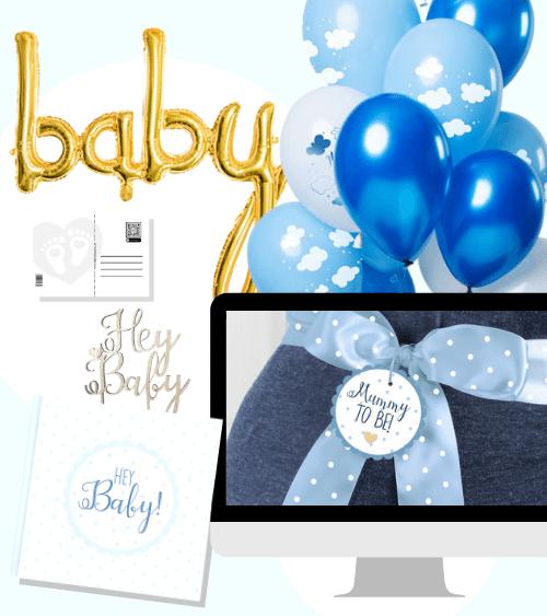 """Virtuelle Babyparty Set """"Mummy to Be - hellblau"""" - 17-teilig"""