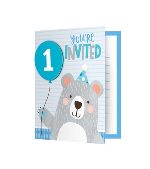 """Einladungskarten """"Kleiner Bär"""" - 1st birthday - 8 Stück"""