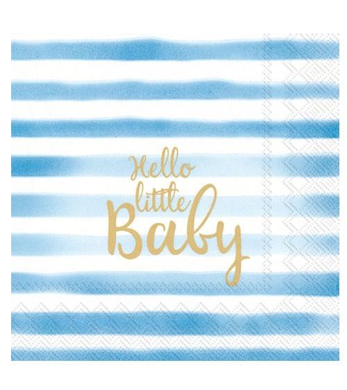 "Servietten ""Hello little Baby"" - hellblau - 20 Stück"