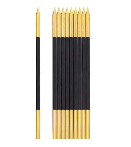 Lange Kuchenkerzen - gold & schwarz - 16 cm - 10 Stück