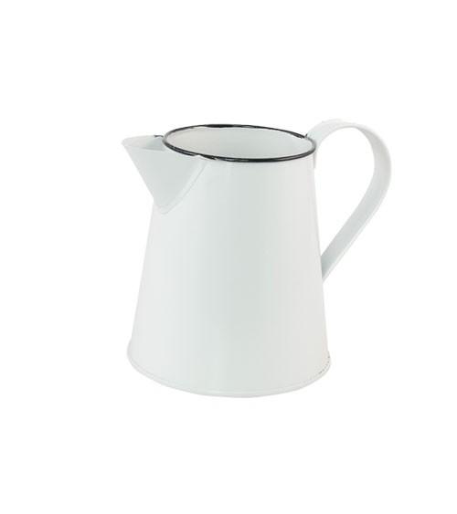 Deko-Kanne aus Metall - weiß, schwarz - 14 x 11,5 cm
