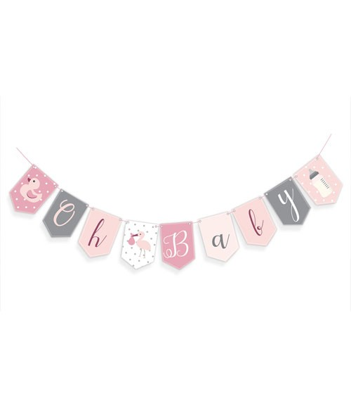 "Wimpelgirlande ""Oh Baby"" - rosa - 2,5 m"