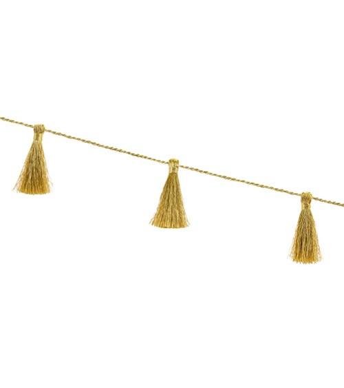 Mini-Tasselgirlande aus Stoff - metallic gold - 1,90 m