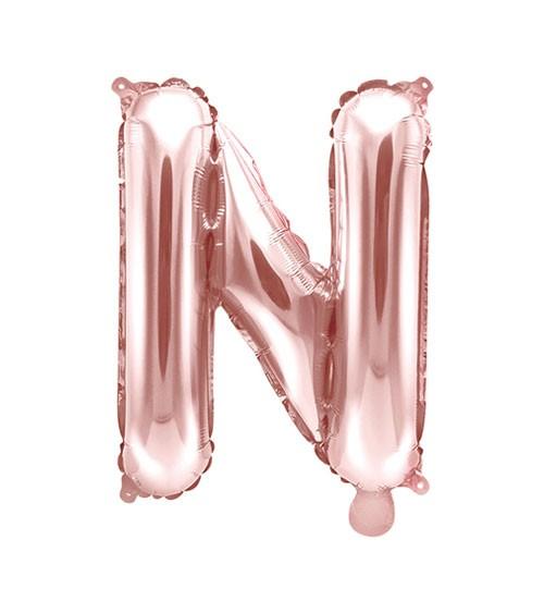 "Folienballon Buchstabe ""N"" - rosegold - 35 cm"