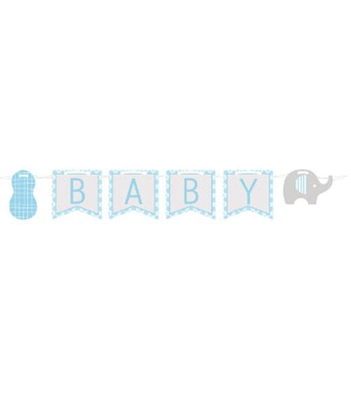 """Welcome Baby-Girlande """"Kleiner Elefant - hellblau"""" - 3,5 m"""