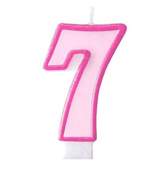 """Geburtstagskerze """"7"""" - rosa/pink"""