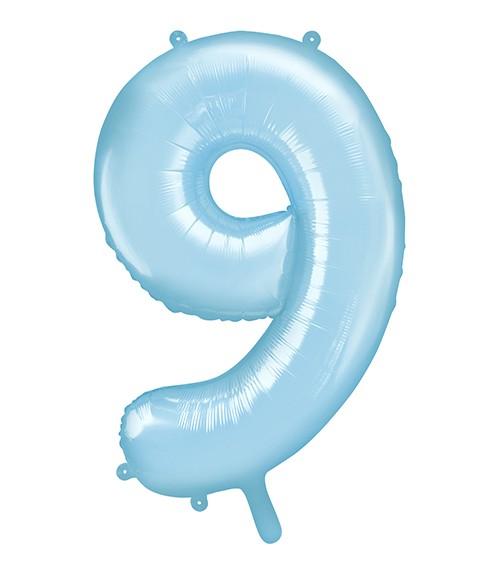 "Supershape-Folienballon ""9"" - pastellblau - 86 cm"