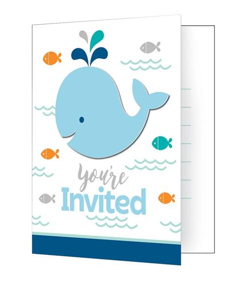 """Einladungskarten """"Baby Wal - Blau"""" - 8 Stück"""
