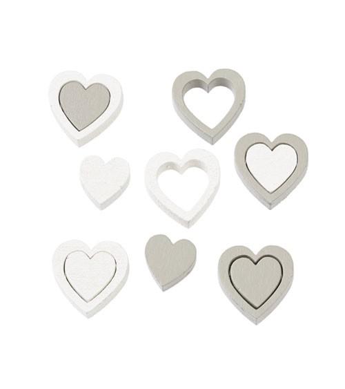 Herz-Streuteile aus Holz - weiß/grau - 12-teilig