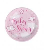 """Kleine Pappteller """"Wolken Baby Shower"""" - rosa - 8 Stück"""