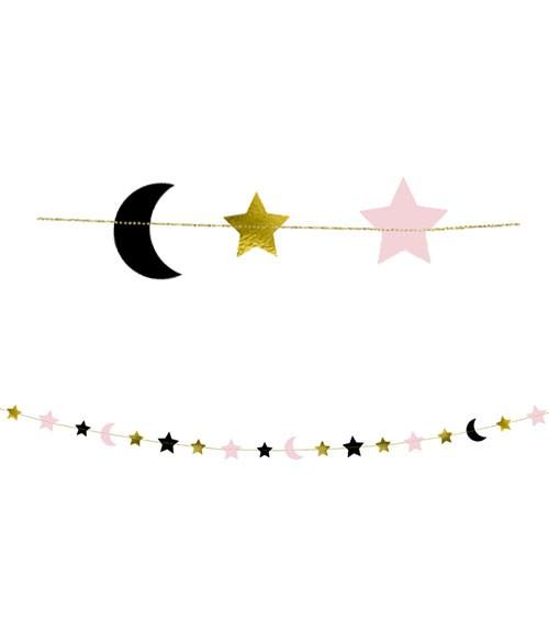 """Motivgirlande """"Mond und Sterne"""" - rosa/gold/schwarz - 1,9 m"""
