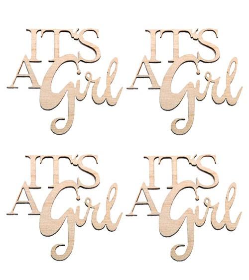 """Holz-Streuteile """"It's a Girl"""" - 4,6 x 4,4 cm - 4 Stück"""