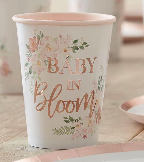 """Pappbecher """"Baby in Bloom"""" - 8 Stück"""