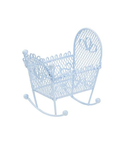Deko-Wiege aus Metall - hellblau - 9 cm
