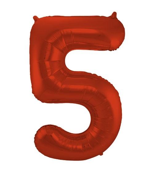 """Zahl-Folienballon """"5"""" - matt rot - 86 cm"""