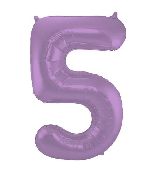 """Zahl-Folienballon """"5"""" - matt lila - 86 cm"""
