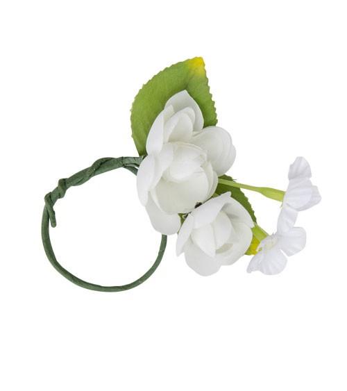 Serviettenring mit Blüten - weiß - 5 cm - 4 Stück
