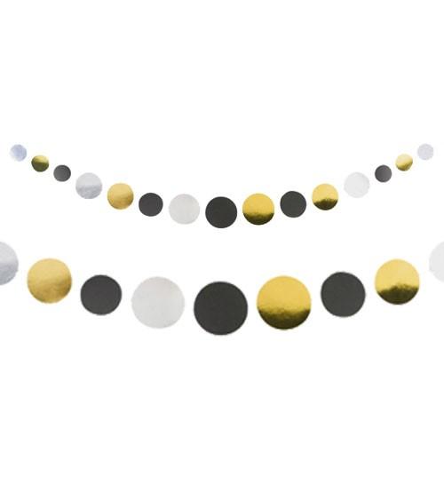 Konfetti-Girlande - weiß, gold, silber, schwarz - 1,7 m