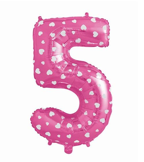 "Folienballon Zahl ""5"" - pink mit Herzen - 61 cm"