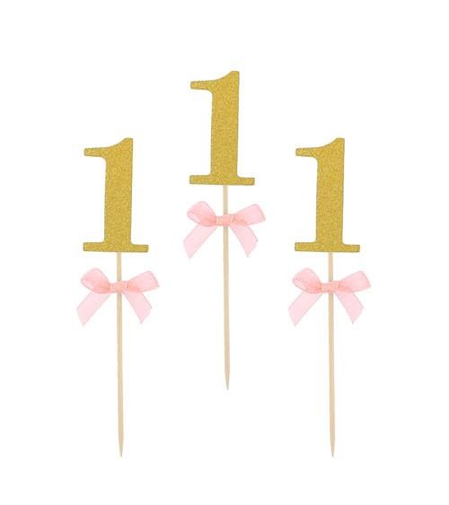 "Cake-Picks mit rosa Schleife ""1"" - glitter gold - 10 Stück"
