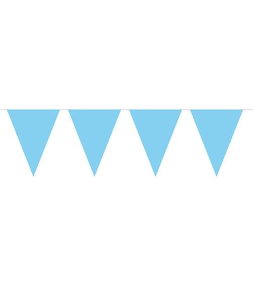 Mini-Wimpelgirlande aus Kunststoff - hellblau - 3 m
