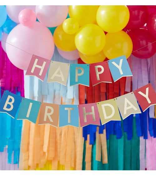 Bunte Happy Birthday Girlande mit Goldaufdruck - 2-teilig - je 1,7 m
