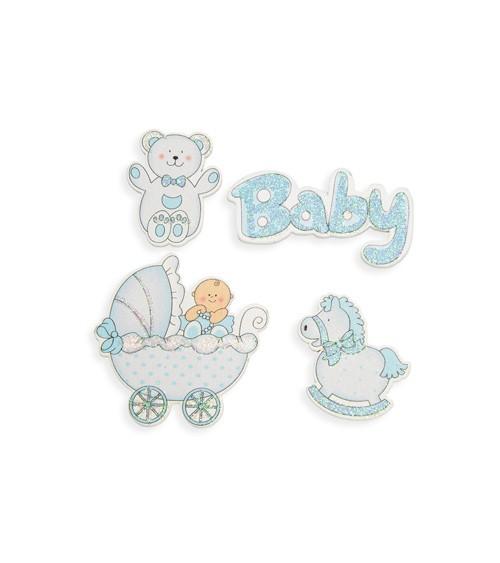 """Sticker aus Holz """"Babyparty"""" - blau - 4 Stück"""