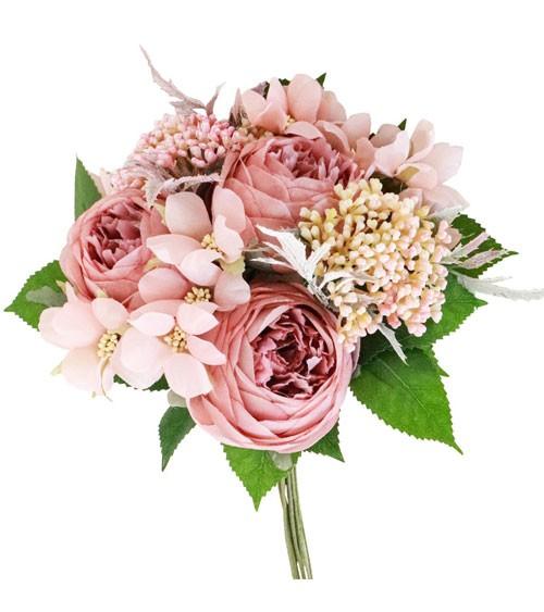Künstlicher Blumenstrauß - altrosa - 20 x 29 cm