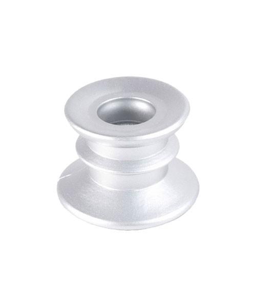 Stabkerzenhalter aus Glas - silber - 4 cm