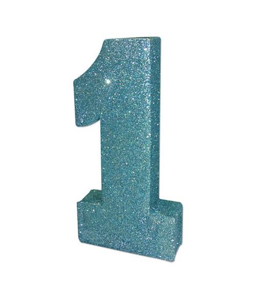 """Tischdekoration mit Glitter """"1"""" - blau - 20 x 10 x 3 cm"""