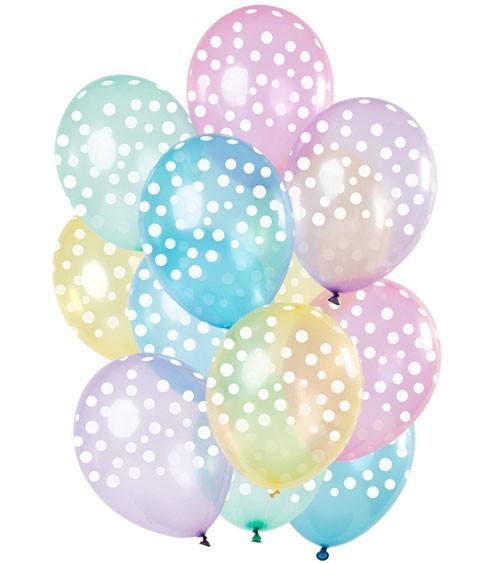 Luftballon-Set mit weißen Punkten - Pastell transparent- 15-teilig