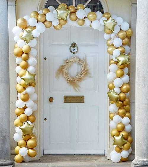 Ballongirlanden-Set für die Eingangstür - gold, weiß - 240-teilig