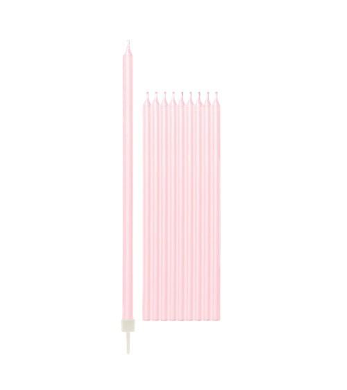 Lange Kuchenkerzen - perlmutt rosa - 15,5 cm - 10 Stück