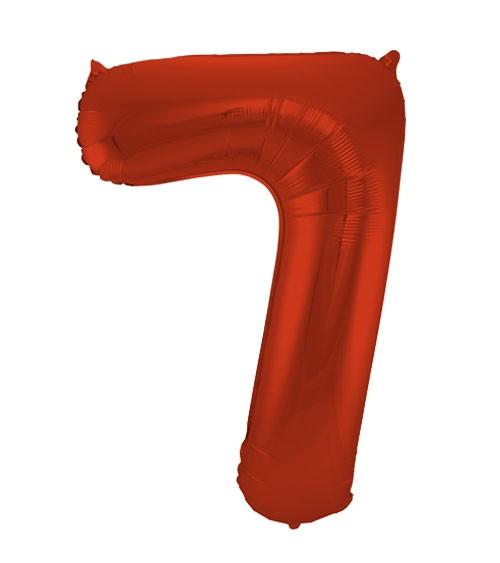 """Zahl-Folienballon """"7"""" - matt rot - 86 cm"""