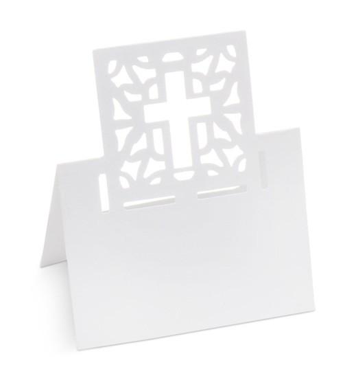 """Platzkarten """"Kreuz"""" - weiß - 10 Stück"""