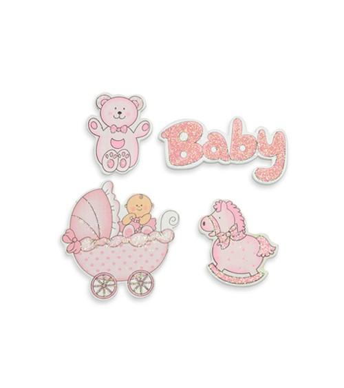 "Sticker aus Holz ""Babyparty"" - rosa - 4 Stück"