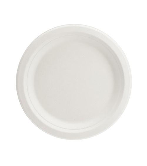 Kleine Zuckerrohr-Teller - weiß - 6 Stück