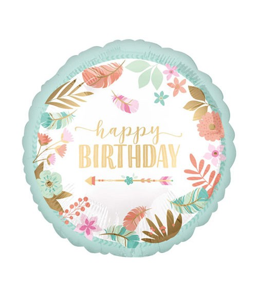 "Runder Folienballon ""Boho Birthday Girl"" - 45 cm"