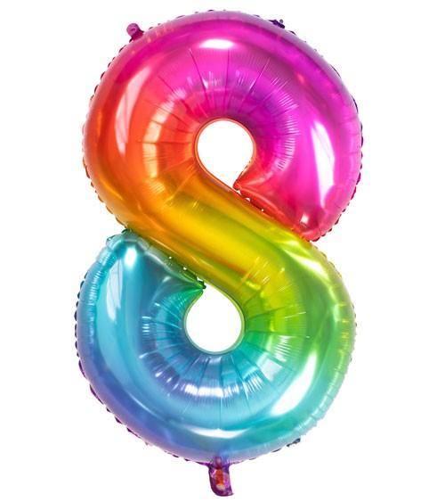 "Zahl-Folienballon ""8"" - Yummy Gummy Rainbow - 86 cm"