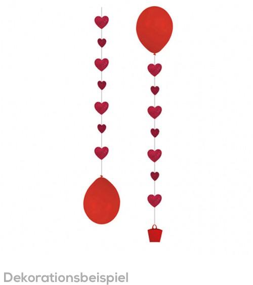 "Hängegirlande für Ballons ""Herzen"" - rot - 3 Stück"