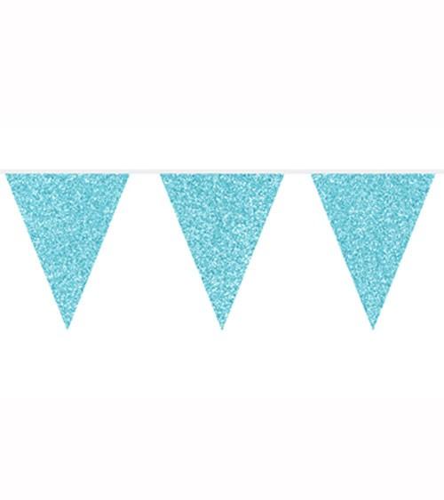 Wimpelgirlande mit Glitter - türkisblau - 6 m
